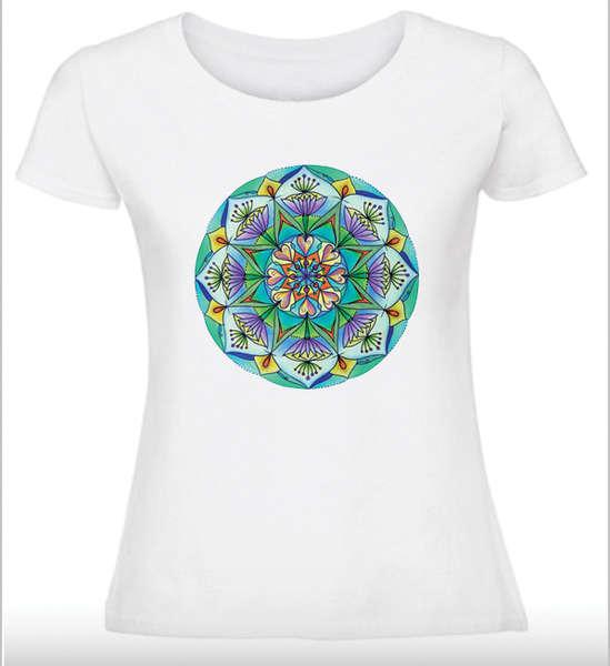 Дамска тениска с Мандала - Мечтите стават реалност - син зелен