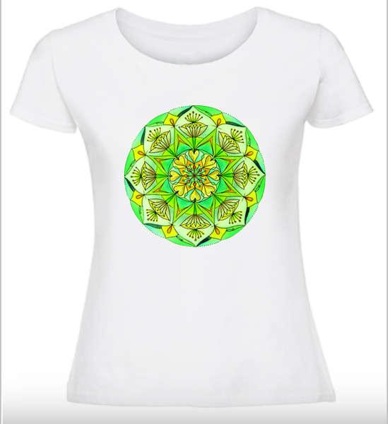 Дамска тениска с Мандала - Мечтите стават реалност - Зелена